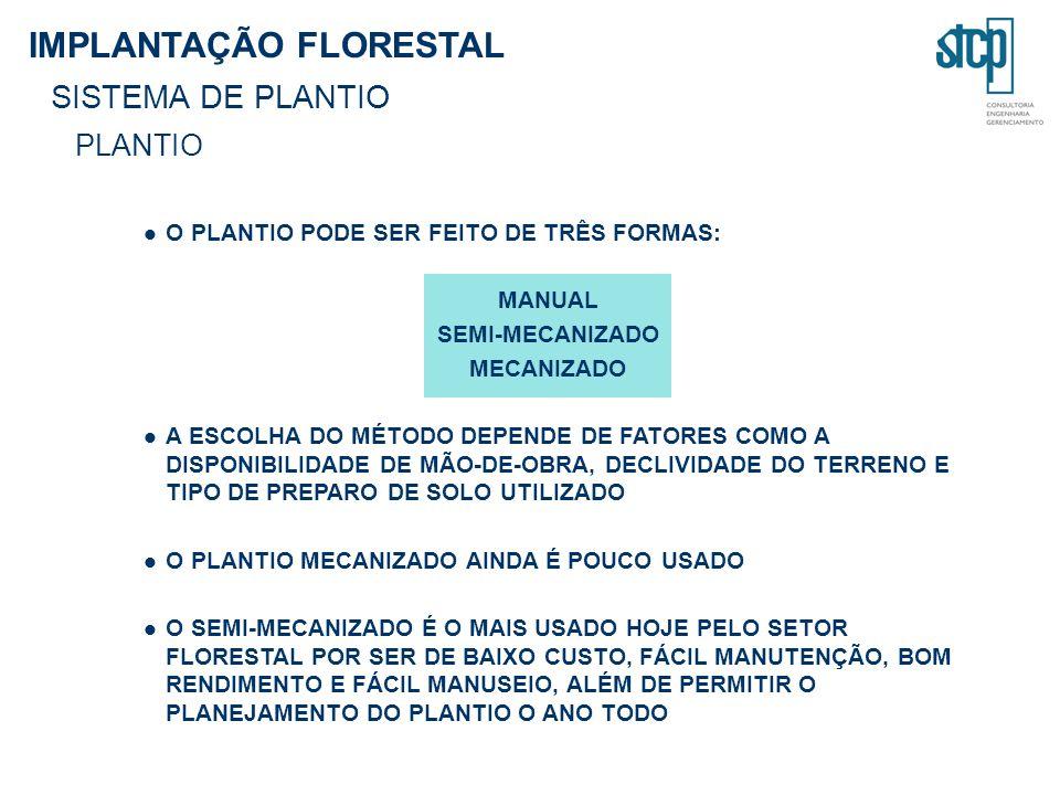 IMPLANTAÇÃO FLORESTAL SISTEMA DE PLANTIO