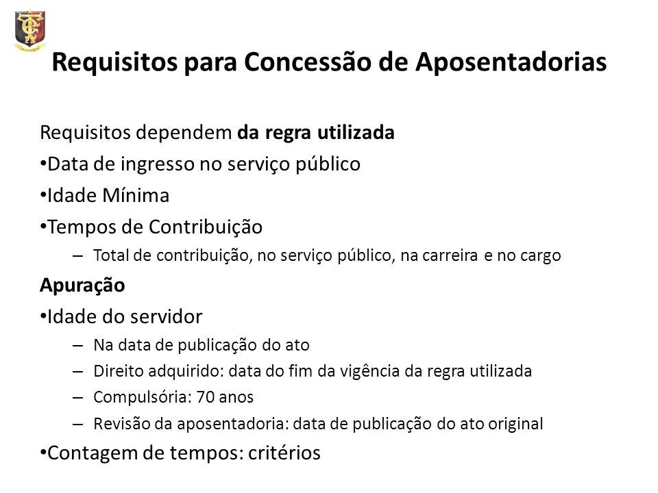 Requisitos para Concessão de Aposentadorias