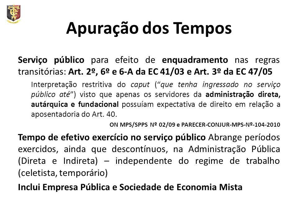 Apuração dos Tempos Serviço público para efeito de enquadramento nas regras transitórias: Art. 2º, 6º e 6-A da EC 41/03 e Art. 3º da EC 47/05.