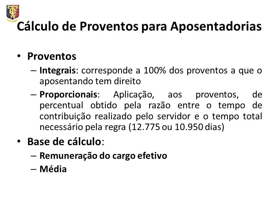 Cálculo de Proventos para Aposentadorias