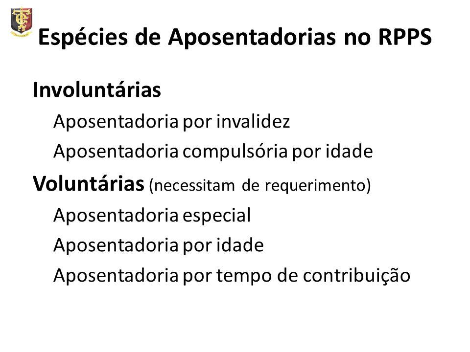 Espécies de Aposentadorias no RPPS