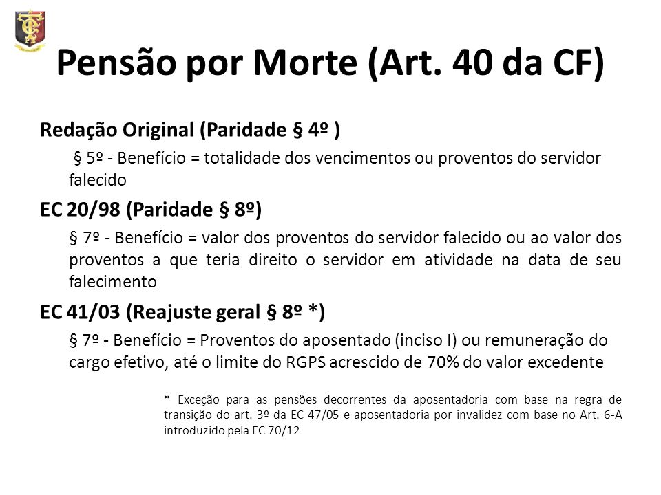 Pensão por Morte (Art. 40 da CF)