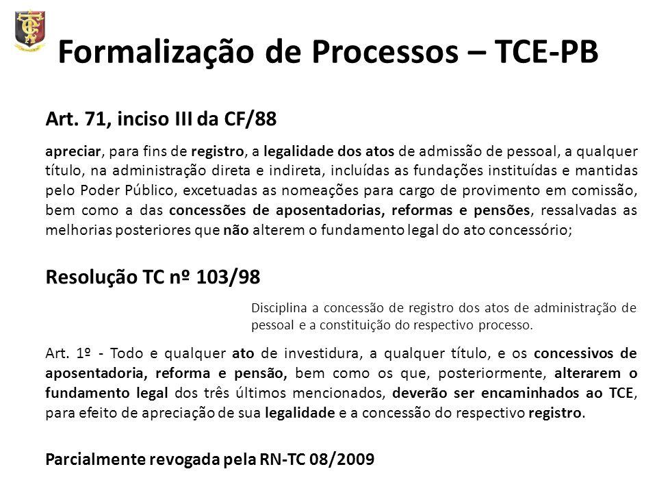 Formalização de Processos – TCE-PB