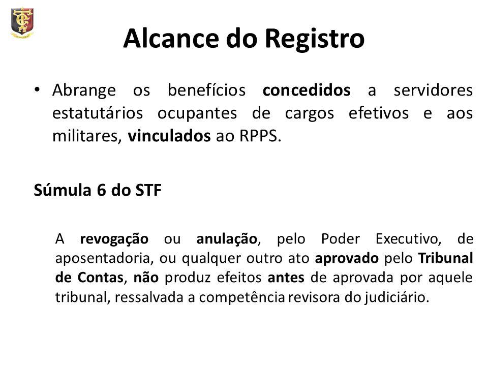 Alcance do Registro Abrange os benefícios concedidos a servidores estatutários ocupantes de cargos efetivos e aos militares, vinculados ao RPPS.