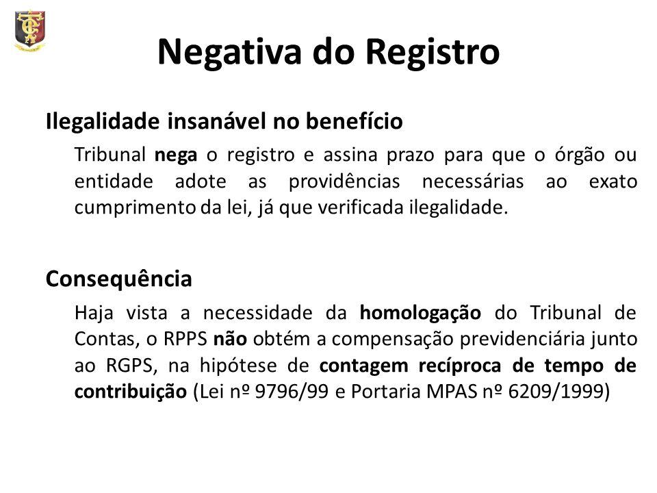 Negativa do Registro Ilegalidade insanável no benefício Consequência