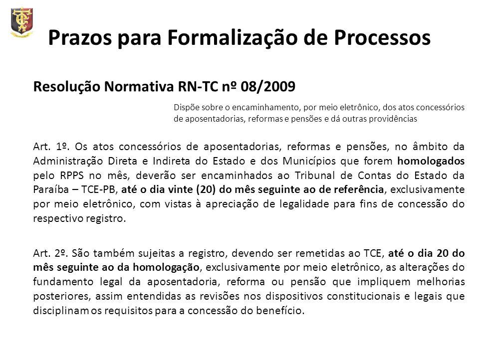Prazos para Formalização de Processos