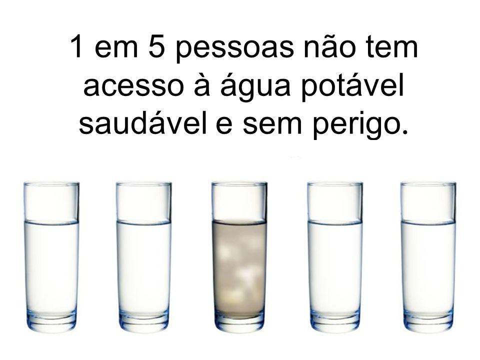 1 em 5 pessoas não tem acesso à água potável saudável e sem perigo.