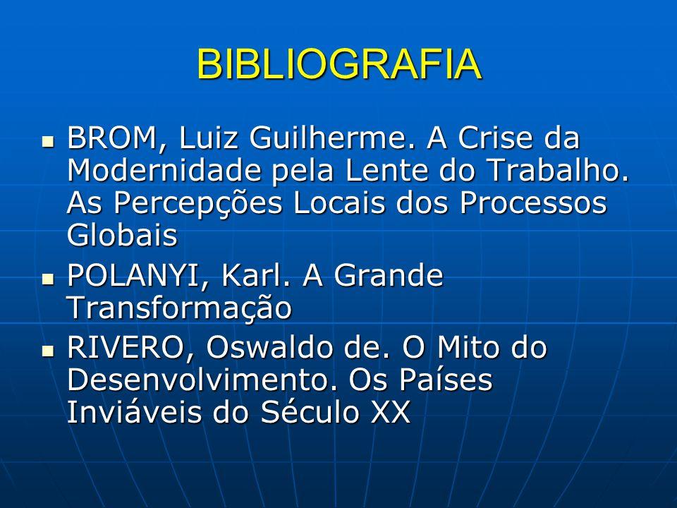 BIBLIOGRAFIA BROM, Luiz Guilherme. A Crise da Modernidade pela Lente do Trabalho. As Percepções Locais dos Processos Globais.