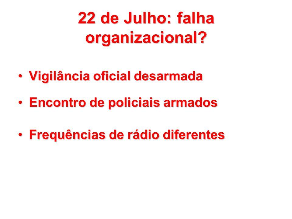 22 de Julho: falha organizacional