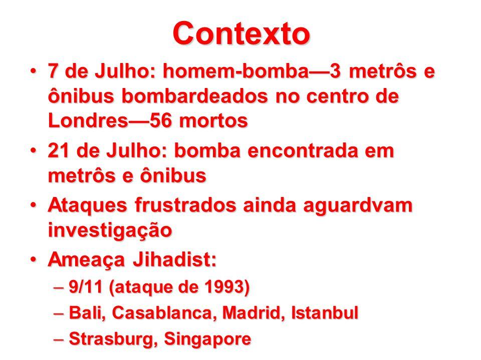 Contexto 7 de Julho: homem-bomba—3 metrôs e ônibus bombardeados no centro de Londres—56 mortos. 21 de Julho: bomba encontrada em metrôs e ônibus.