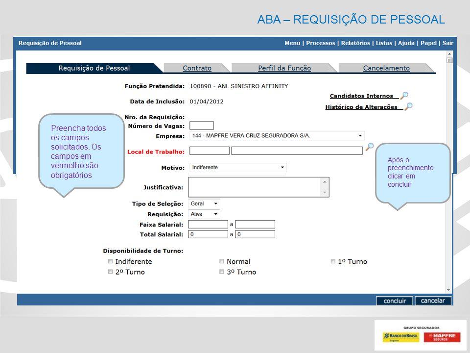 ABA – REQUISIÇÃO DE PESSOAL