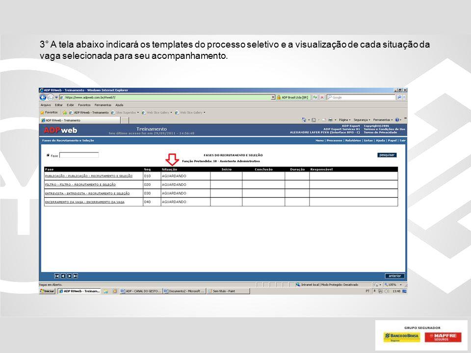 3° A tela abaixo indicará os templates do processo seletivo e a visualização de cada situação da vaga selecionada para seu acompanhamento.
