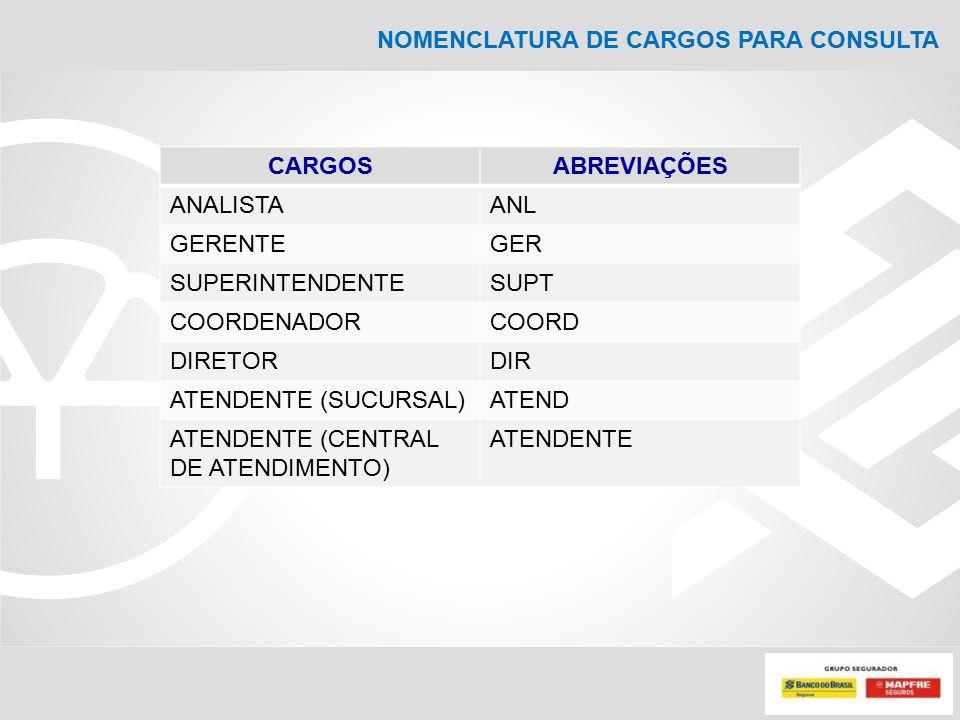 NOMENCLATURA DE CARGOS PARA CONSULTA