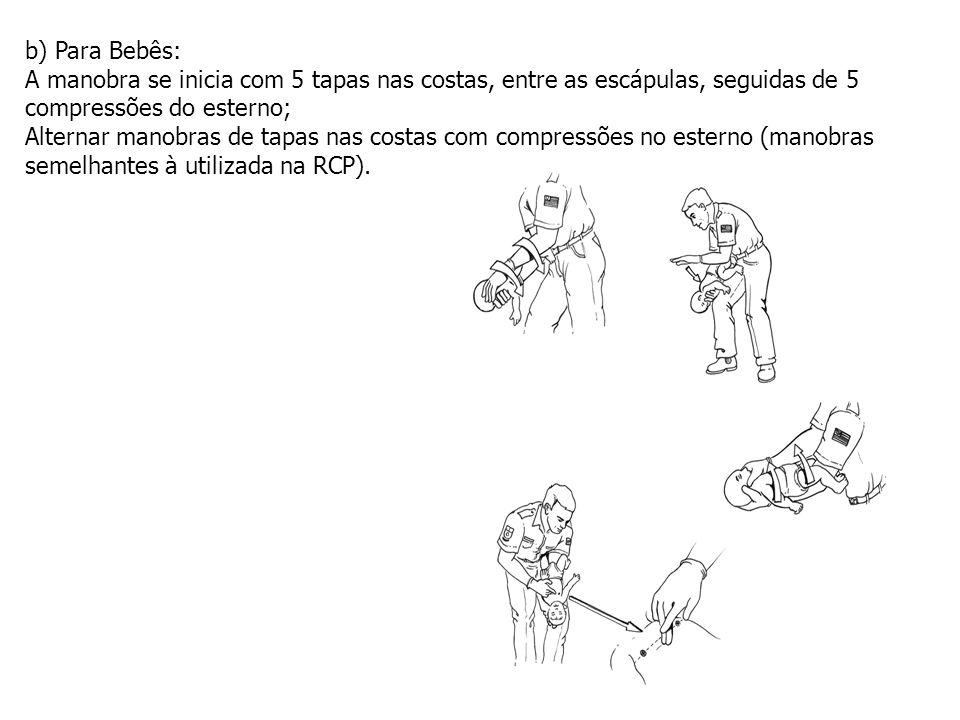 b) Para Bebês: A manobra se inicia com 5 tapas nas costas, entre as escápulas, seguidas de 5 compressões do esterno;