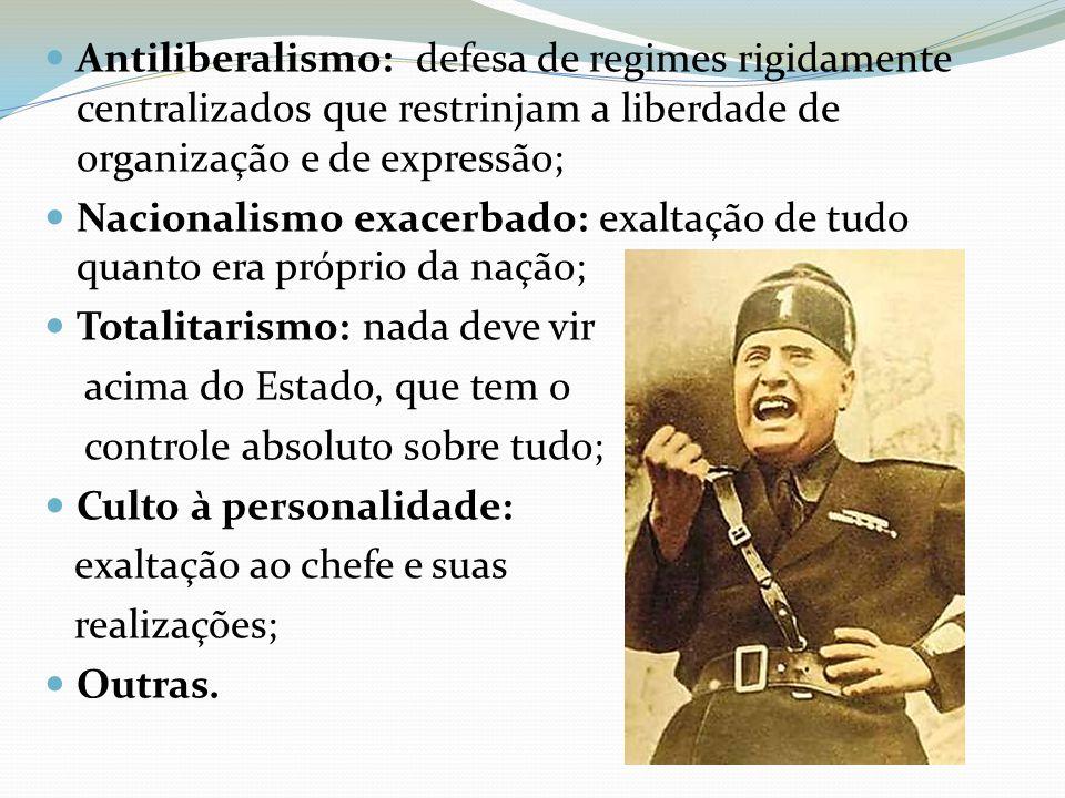 Antiliberalismo: defesa de regimes rigidamente centralizados que restrinjam a liberdade de organização e de expressão;