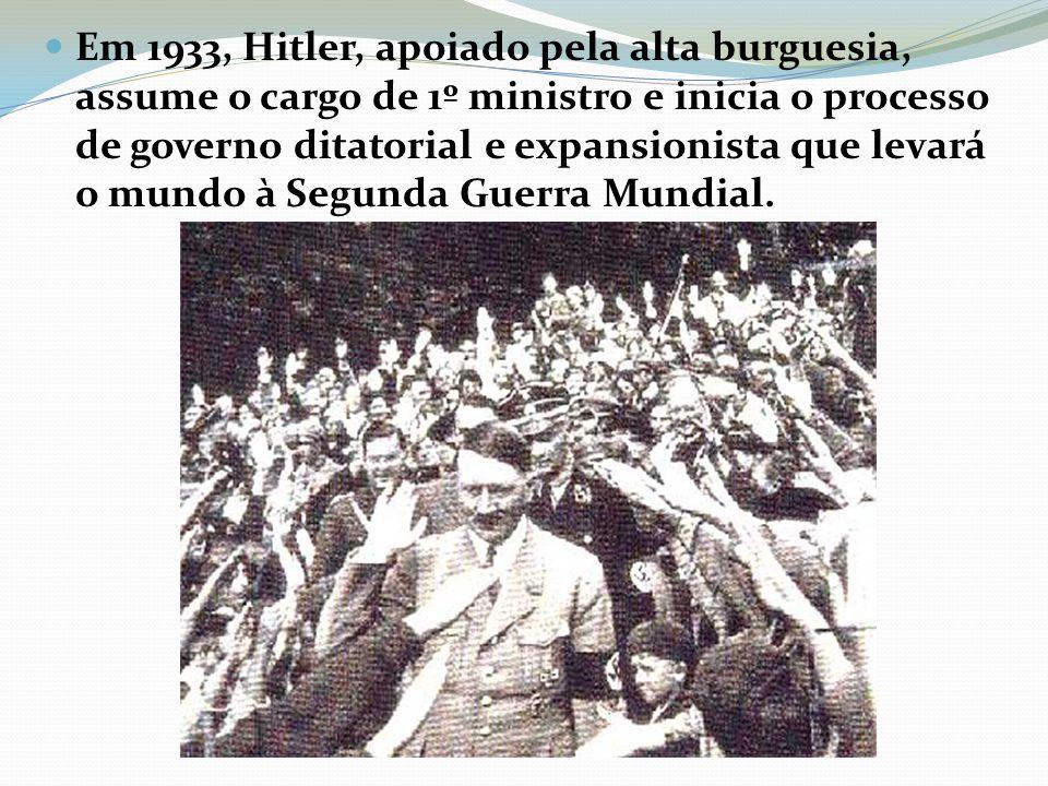 Em 1933, Hitler, apoiado pela alta burguesia, assume o cargo de 1º ministro e inicia o processo de governo ditatorial e expansionista que levará o mundo à Segunda Guerra Mundial.