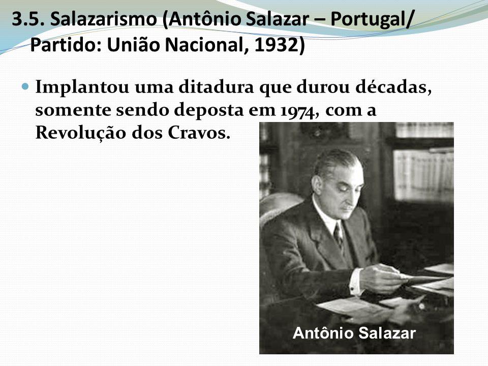 3.5. Salazarismo (Antônio Salazar – Portugal/ Partido: União Nacional, 1932)