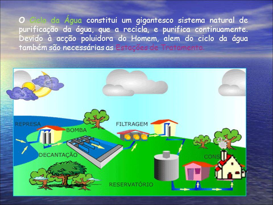 O Ciclo da Água constitui um gigantesco sistema natural de purificação da água, que a recicla, e purifica continuamente.