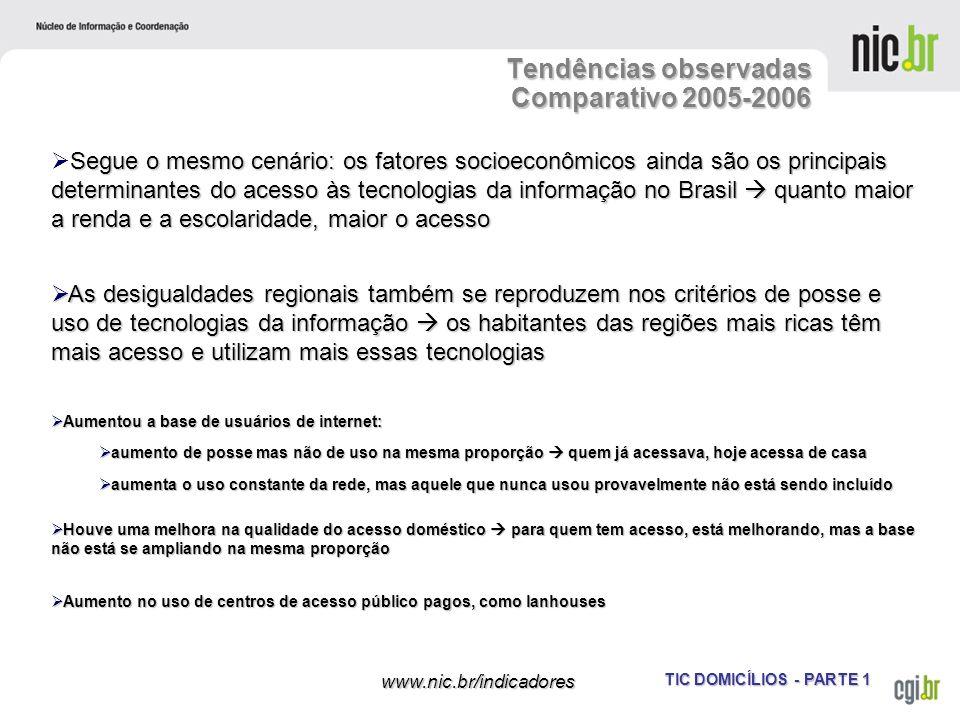 Tendências observadas Comparativo 2005-2006