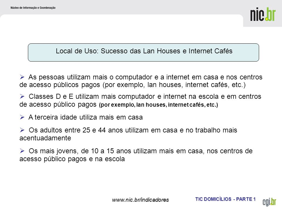 Local de Uso: Sucesso das Lan Houses e Internet Cafés