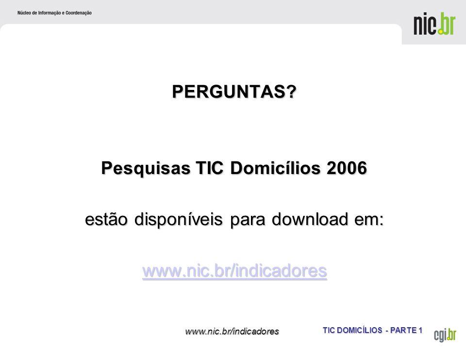 Pesquisas TIC Domicílios 2006 estão disponíveis para download em: