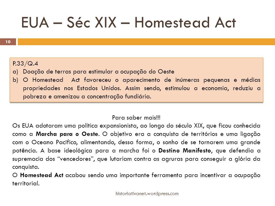 EUA – Séc XIX – Homestead Act