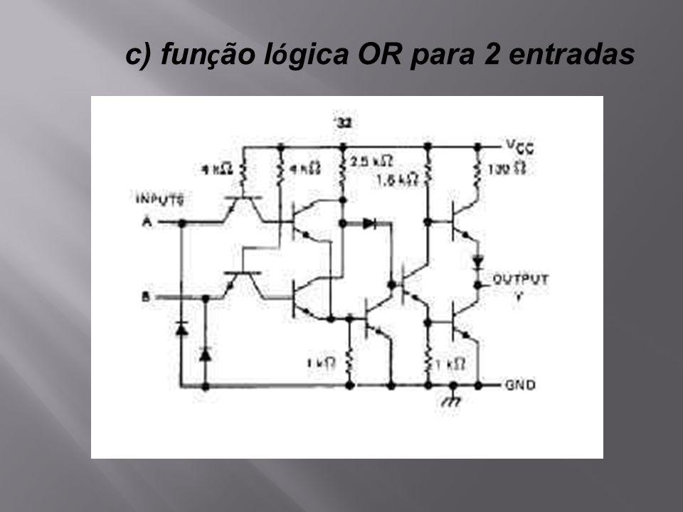c) função lógica OR para 2 entradas