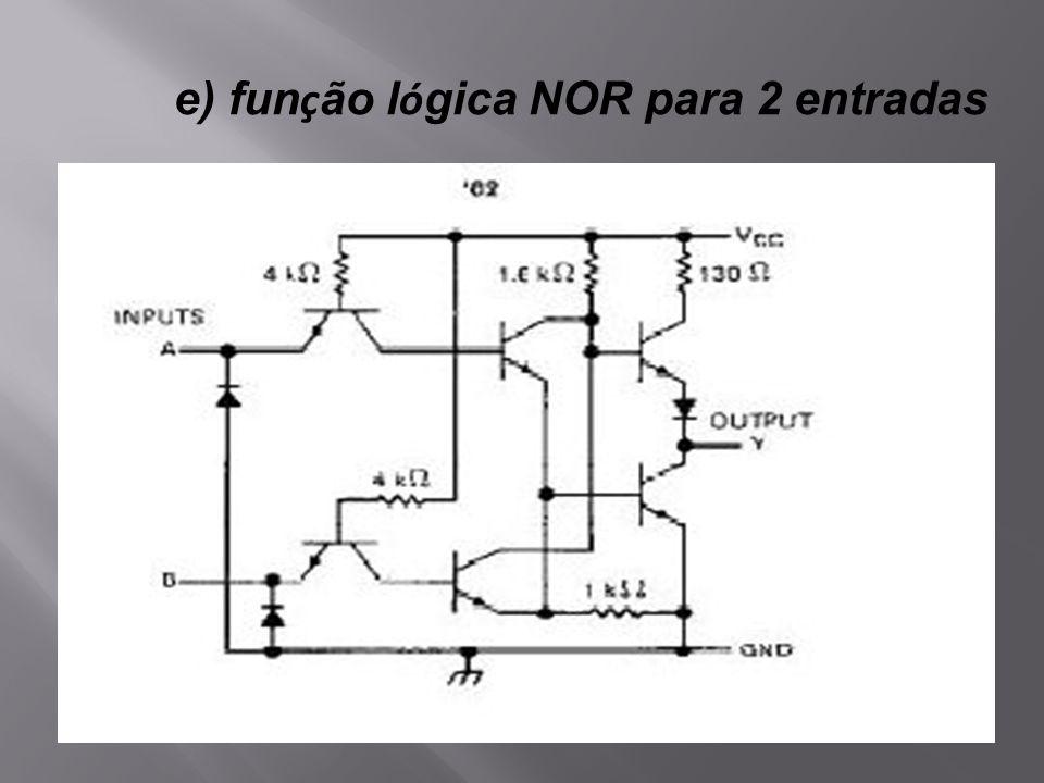 e) função lógica NOR para 2 entradas