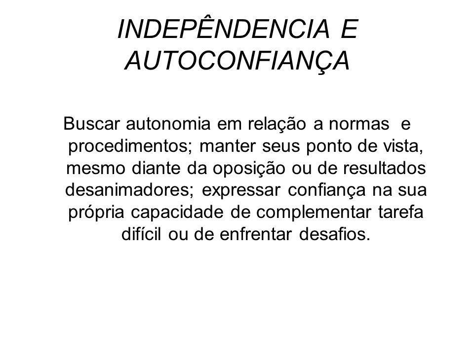 INDEPÊNDENCIA E AUTOCONFIANÇA