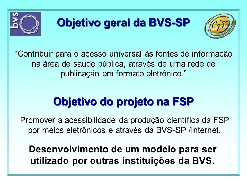 Objetivo geral da BVS-SP Objetivo do projeto na FSP