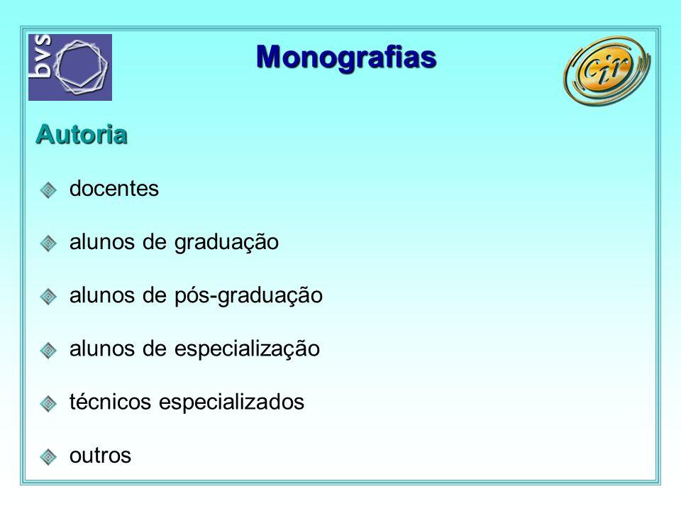 Monografias Autoria docentes alunos de graduação