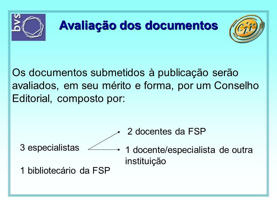 Avaliação dos documentos