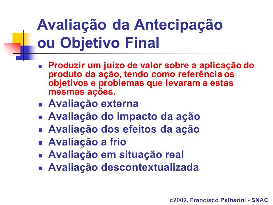 Avaliação da Antecipação ou Objetivo Final