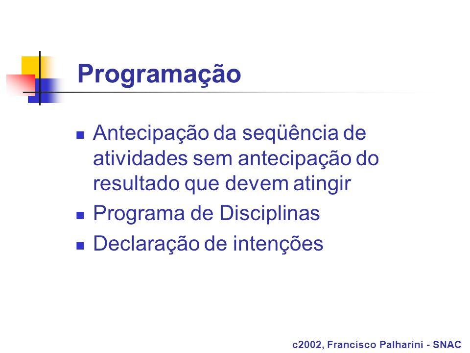 Programação Antecipação da seqüência de atividades sem antecipação do resultado que devem atingir. Programa de Disciplinas.