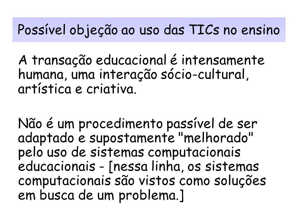 Possível objeção ao uso das TICs no ensino