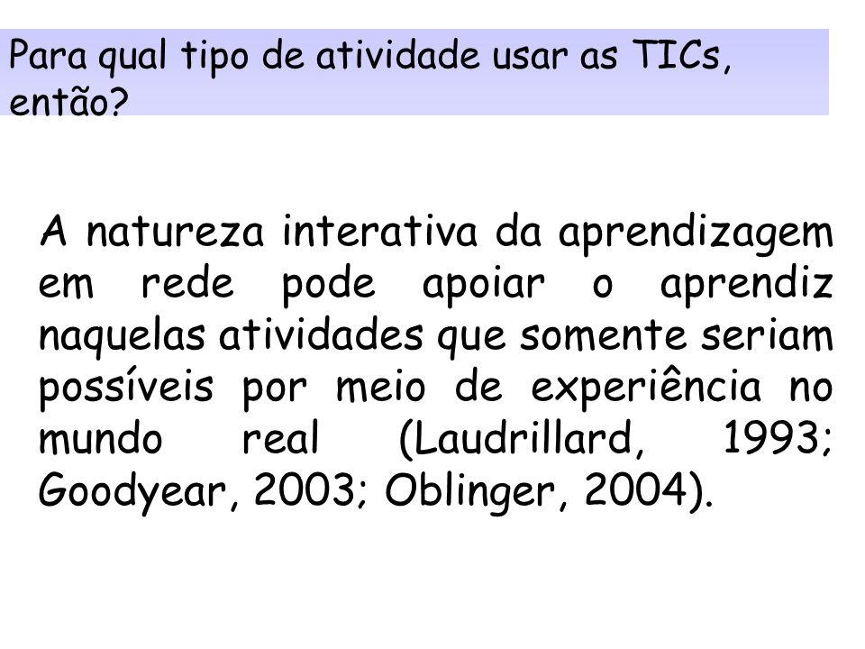 Para qual tipo de atividade usar as TICs, então