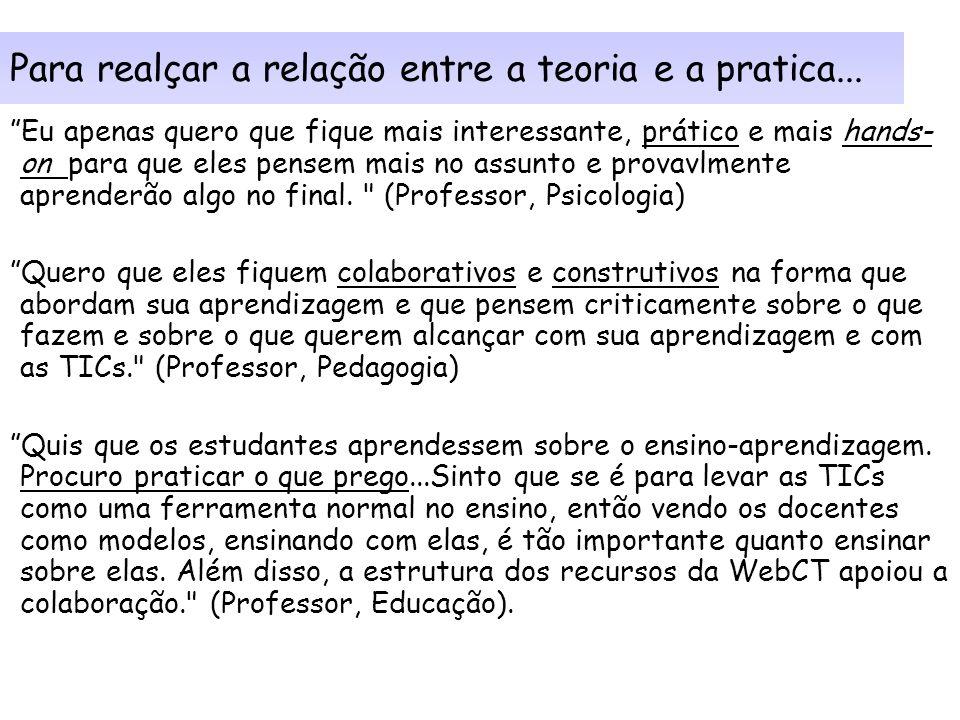 Para realçar a relação entre a teoria e a pratica...