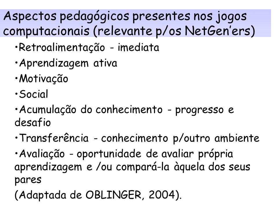 Aspectos pedagógicos presentes nos jogos computacionais (relevante p/os NetGen'ers)