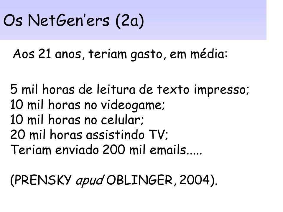 Os NetGen'ers (2a) Aos 21 anos, teriam gasto, em média: