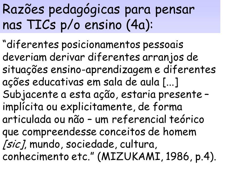 Razões pedagógicas para pensar nas TICs p/o ensino (4a):