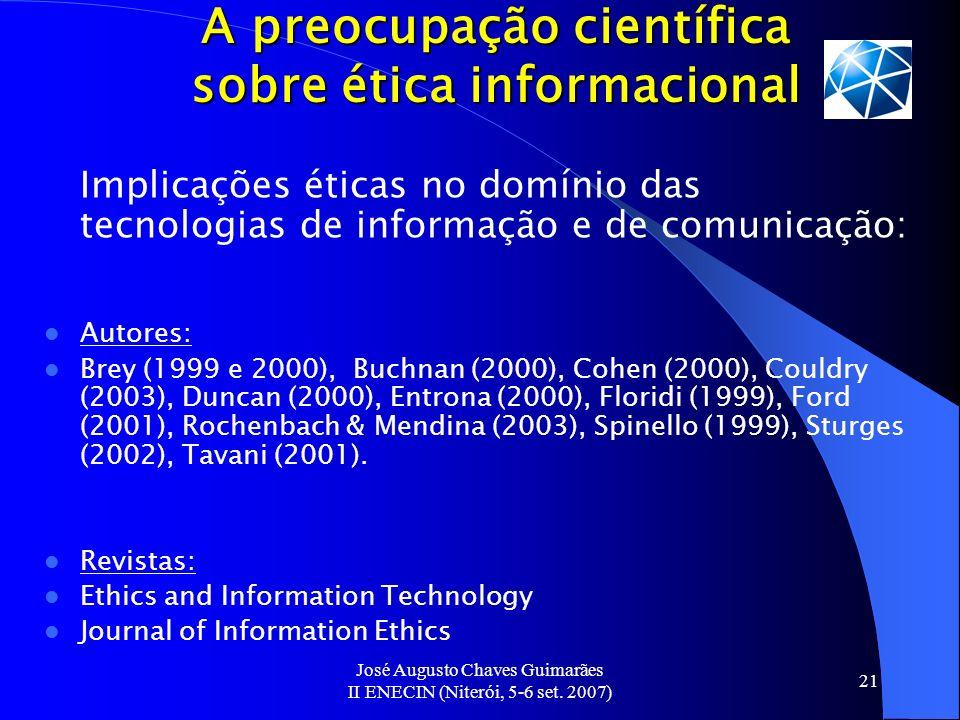 A preocupação científica sobre ética informacional