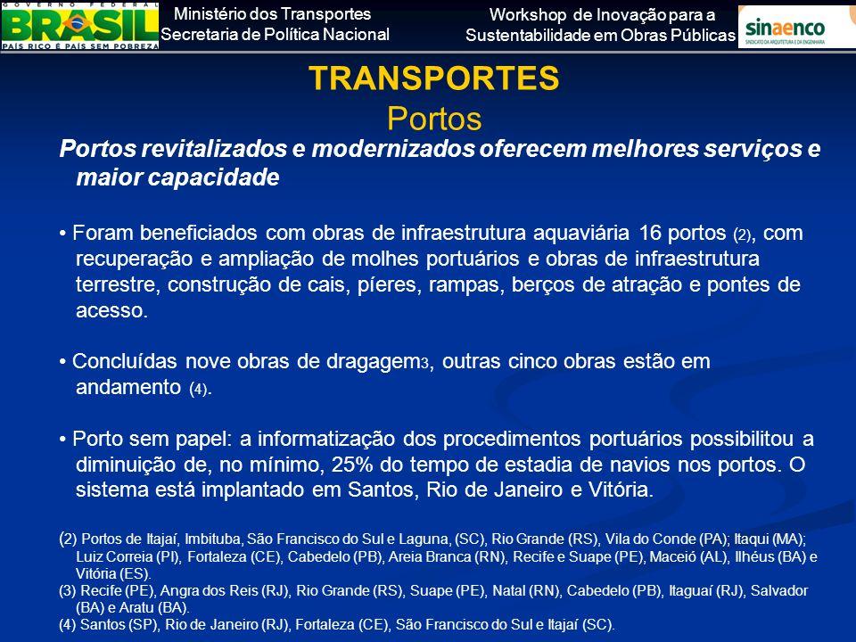 TRANSPORTES Portos. Portos revitalizados e modernizados oferecem melhores serviços e maior capacidade.