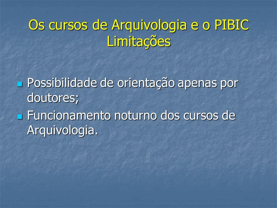 Os cursos de Arquivologia e o PIBIC Limitações