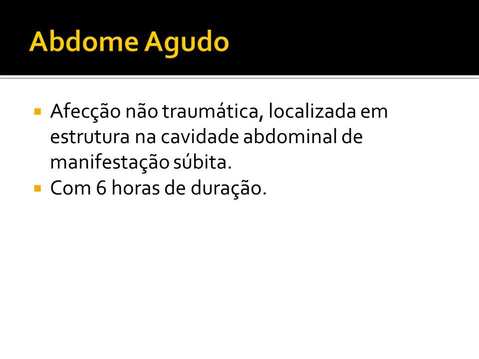 Afecção não traumática, localizada em estrutura na cavidade abdominal de manifestação súbita.