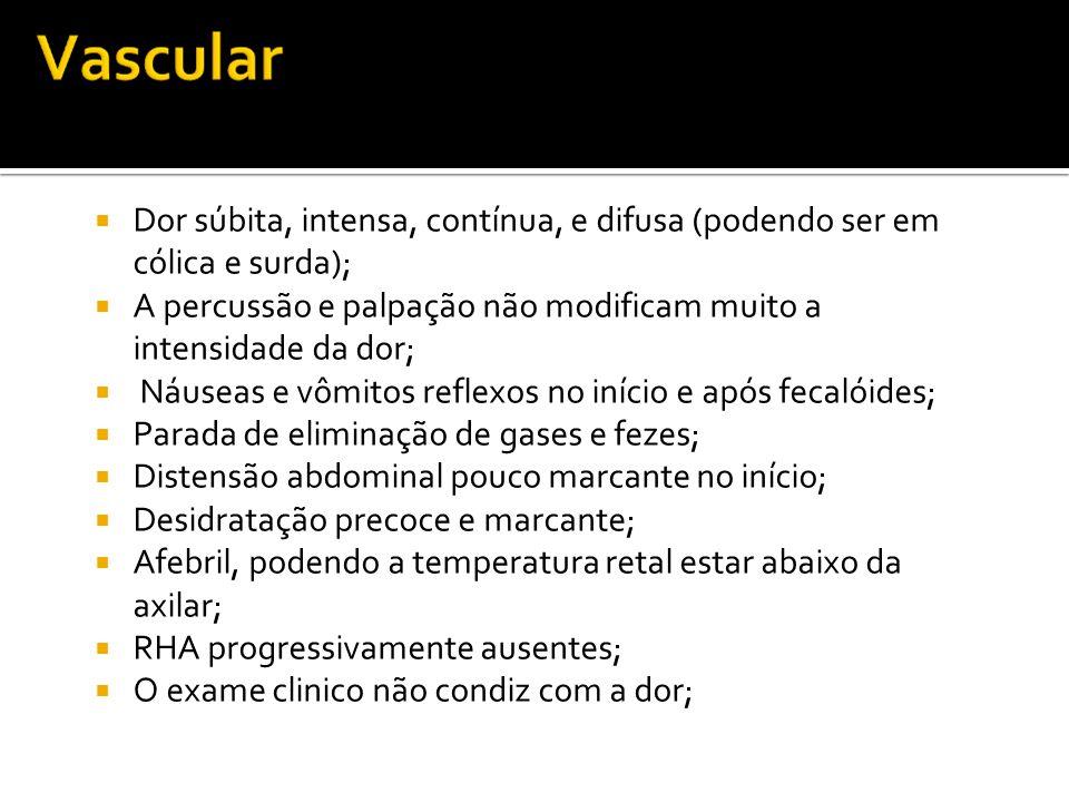 Dor súbita, intensa, contínua, e difusa (podendo ser em cólica e surda);