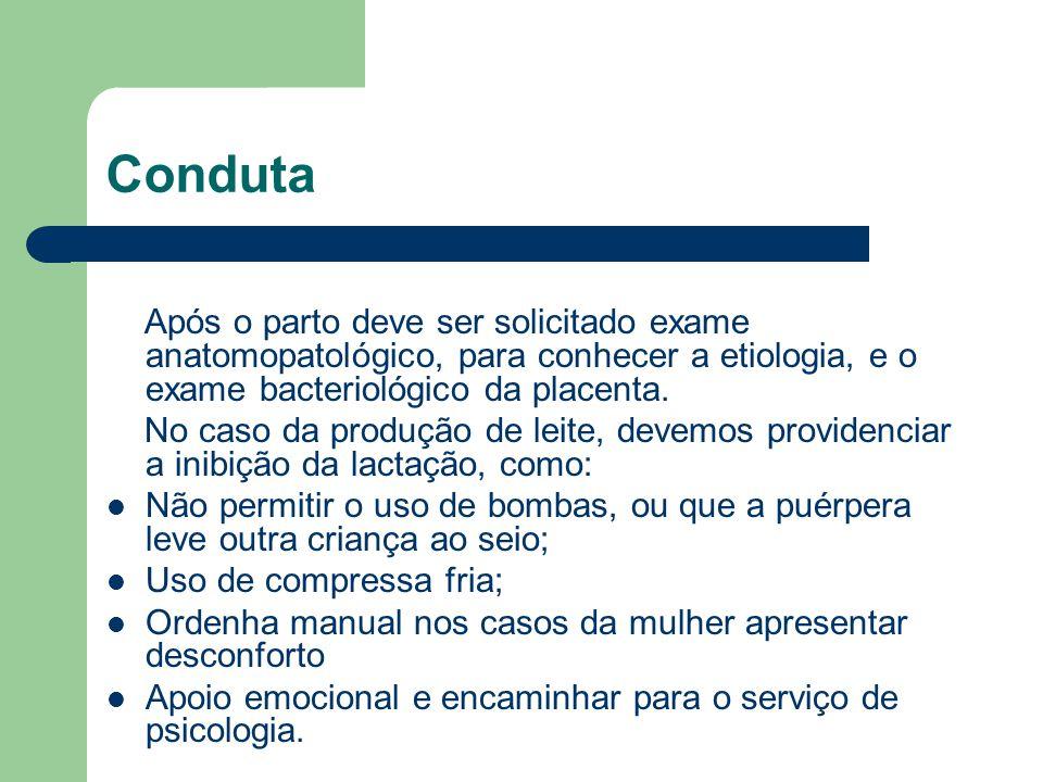 Conduta Após o parto deve ser solicitado exame anatomopatológico, para conhecer a etiologia, e o exame bacteriológico da placenta.