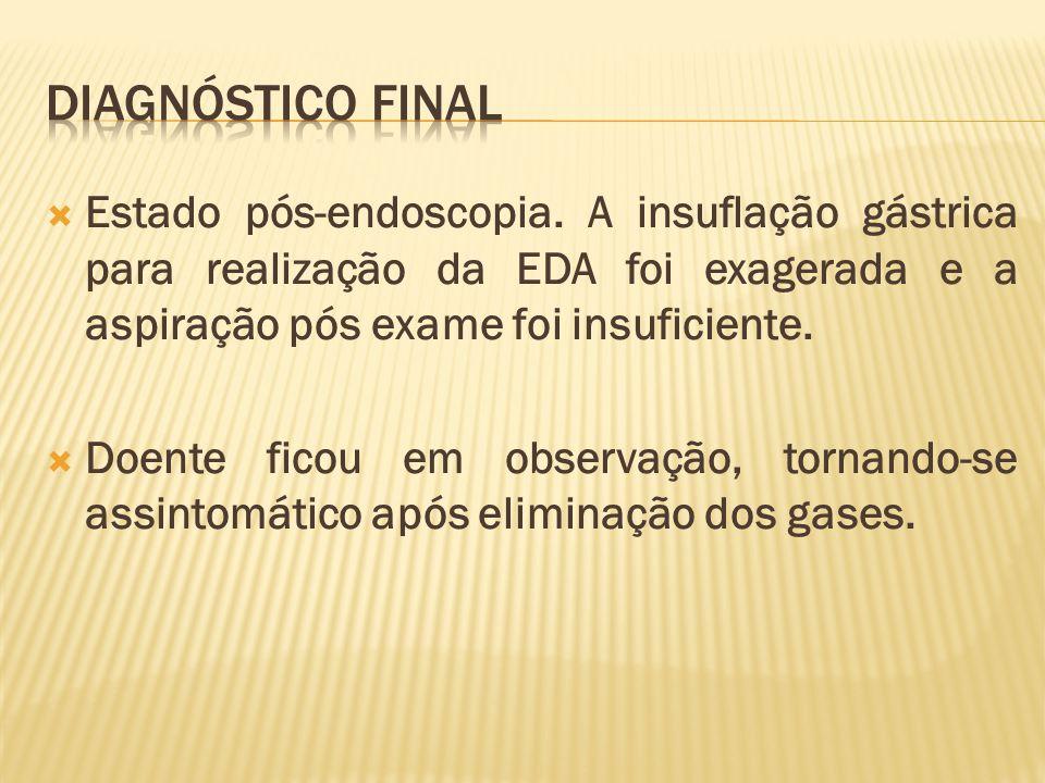 Diagnóstico final Estado pós-endoscopia. A insuflação gástrica para realização da EDA foi exagerada e a aspiração pós exame foi insuficiente.