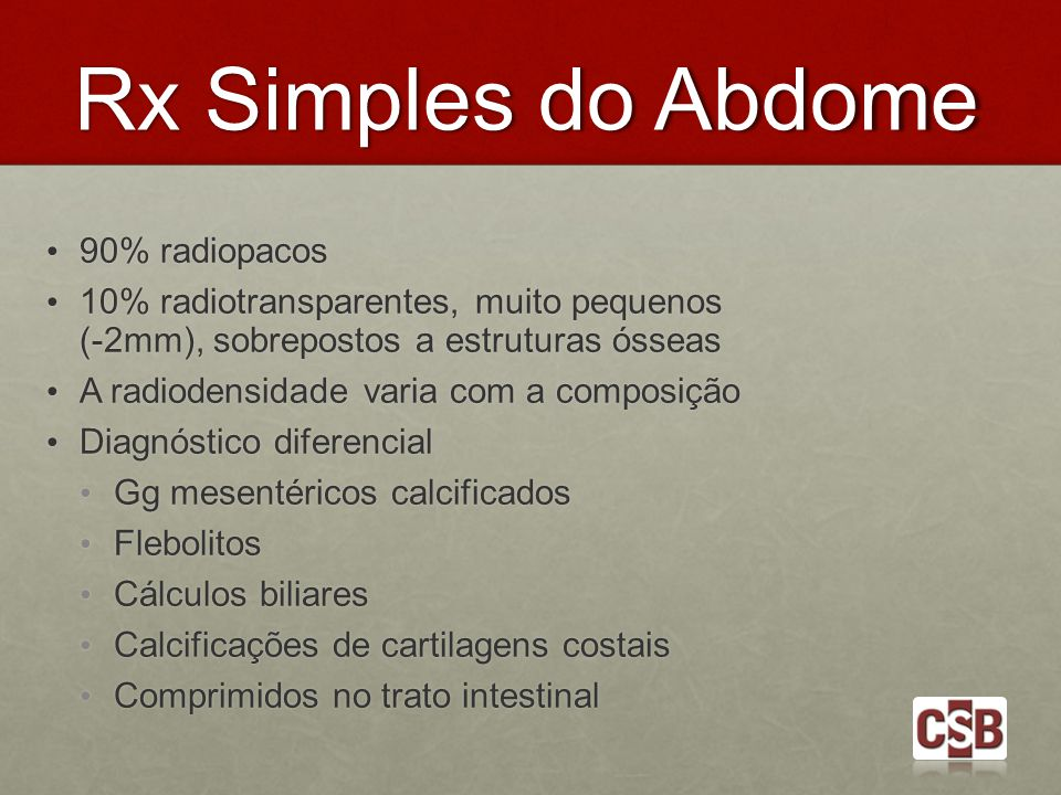Rx Simples do Abdome 90% radiopacos