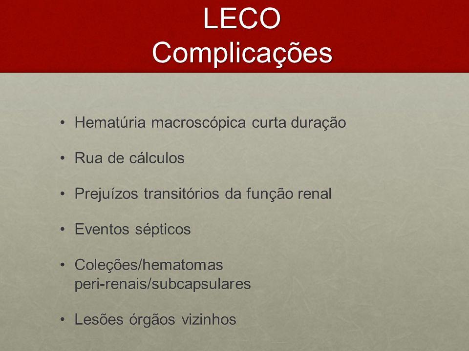 LECO Complicações Hematúria macroscópica curta duração Rua de cálculos