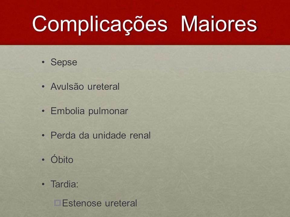 Complicações Maiores Sepse Avulsão ureteral Embolia pulmonar